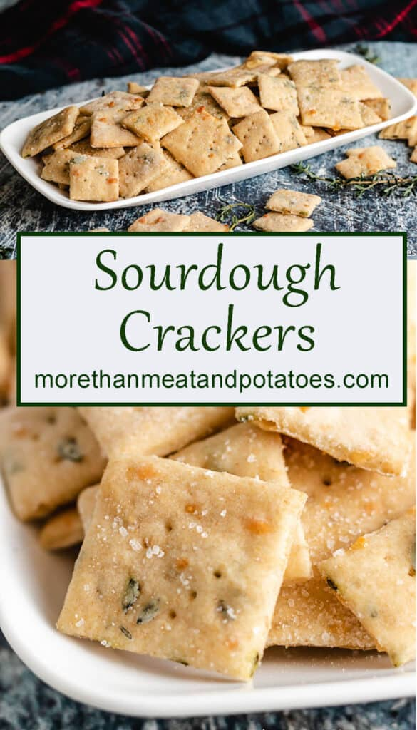 Stacked photos showing different angles of the sourdough crackers.