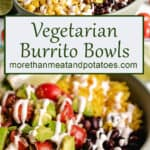 Stacked photos showing the burrito bowls topped with sauce.