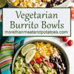 Two stacked photos of the finished burrito bowls.