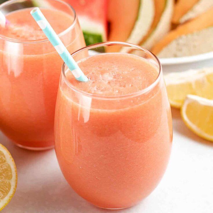 Cantaloupe Juice Featured Image Watermelon Cantaloupe Juice