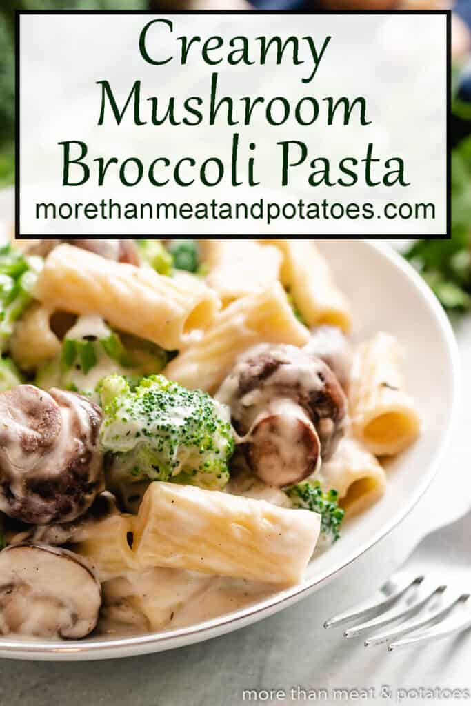 White sauce pasta with mushrooms and broccoli.