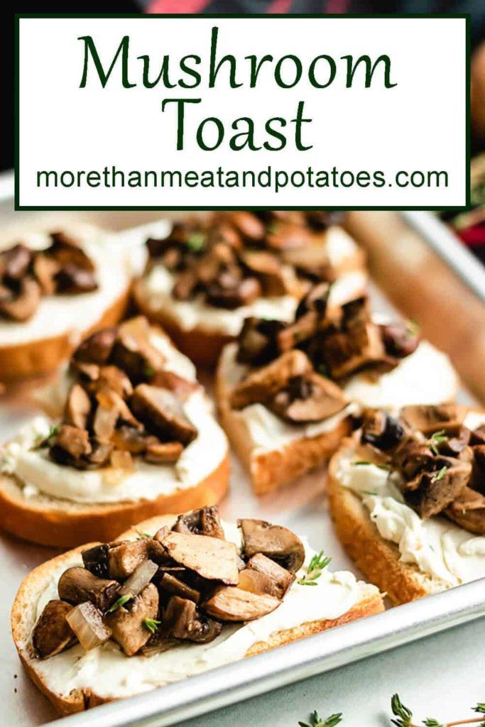 The finished mushroom toast on a sheet pan.