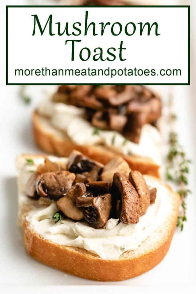 Close-up view of the mushroom toast on a plate.