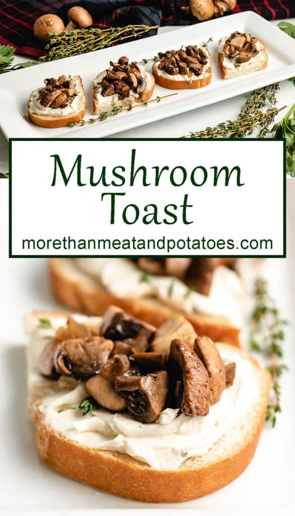 Two photos of the mushroom toast topped with fresh thyme.