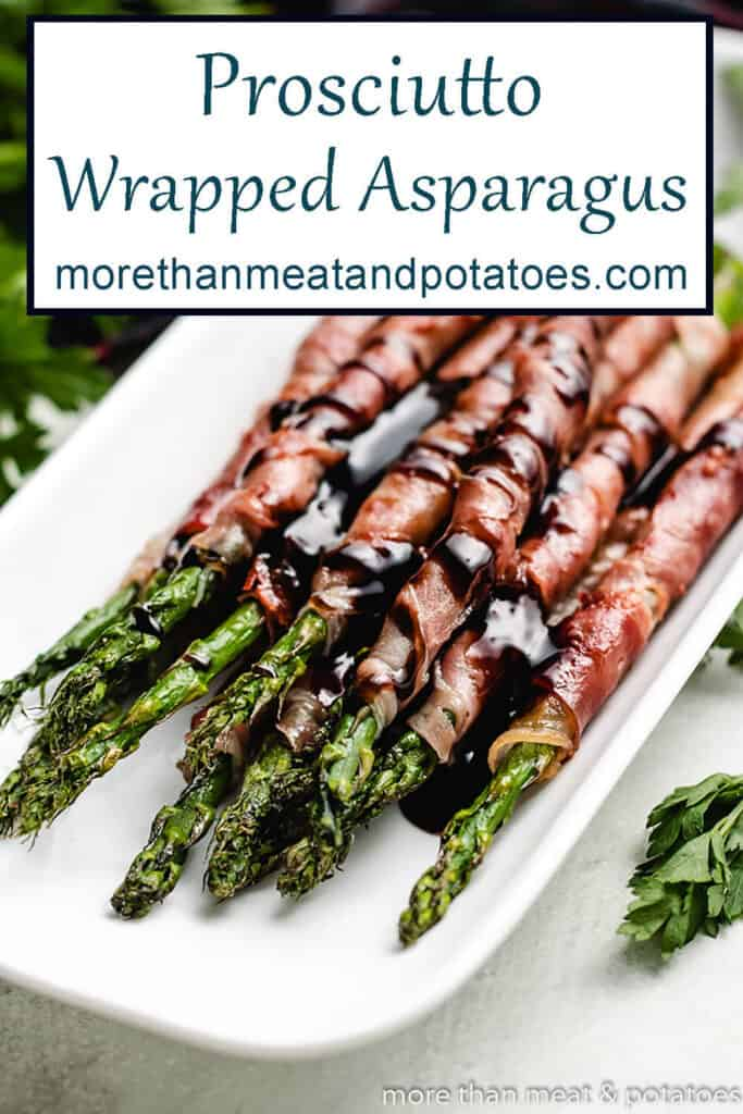 The finished grilled asparagus on a plate.