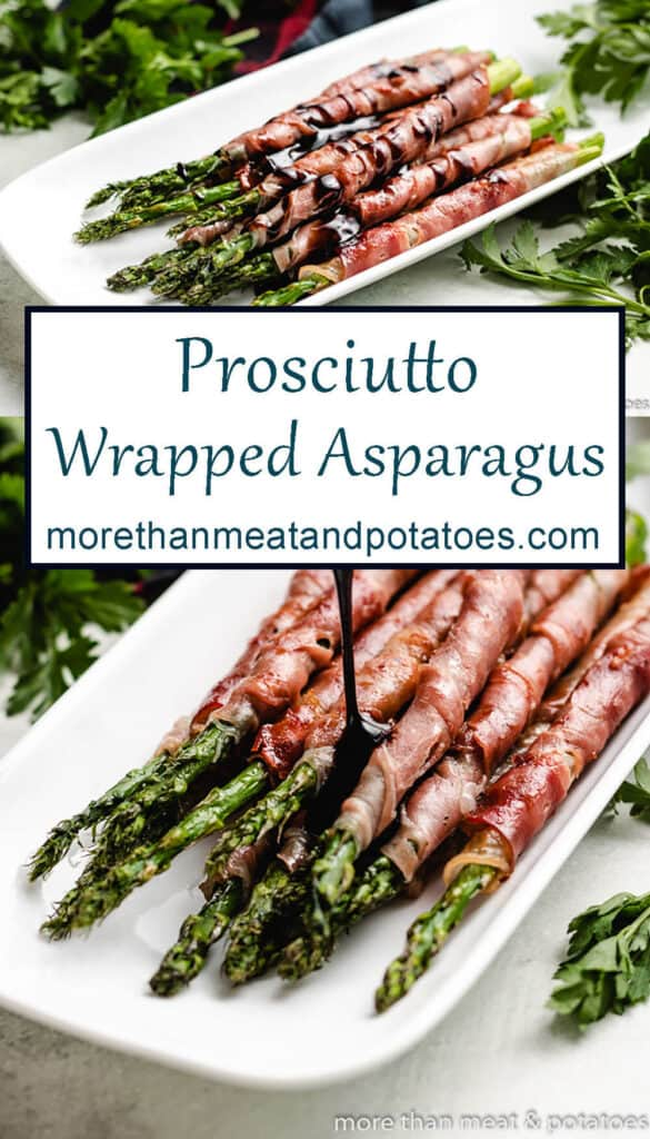 Two photos showing the grilled prosciutto wrapped asparagus.