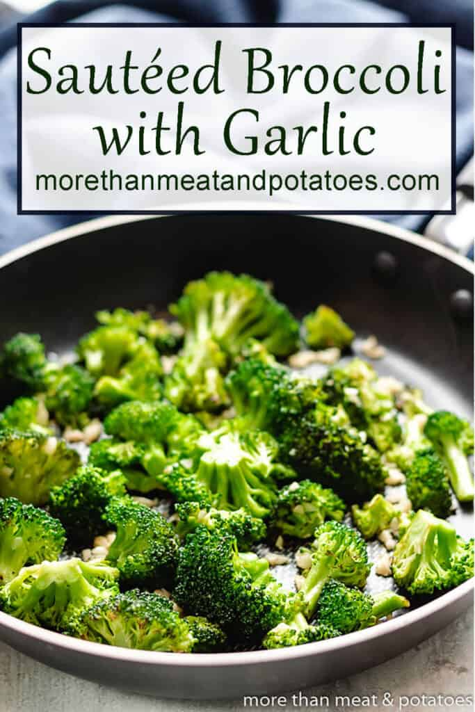 Sauteed broccoli and garlic finished with white wine in pan