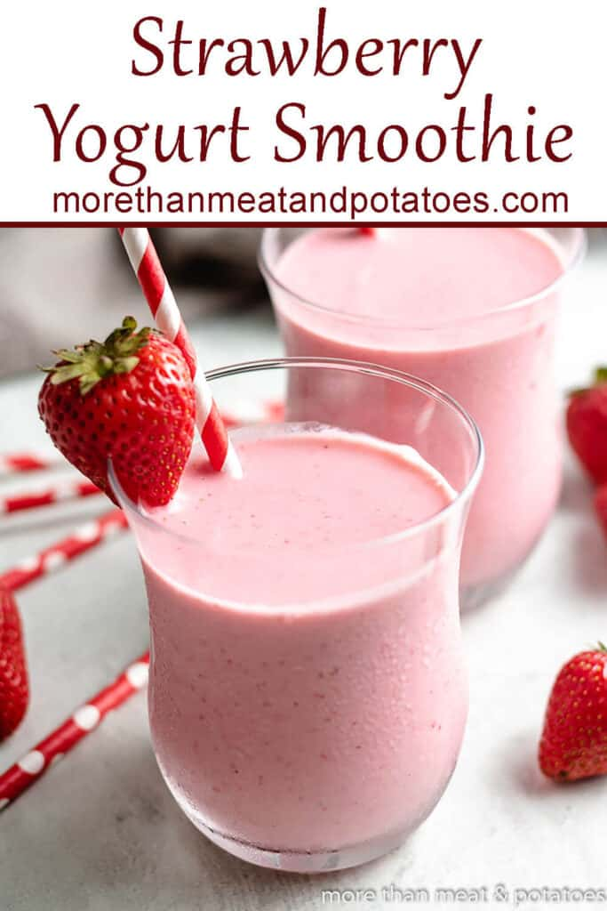 Two strawberry Greek yogurt smoothies with colorful straws.