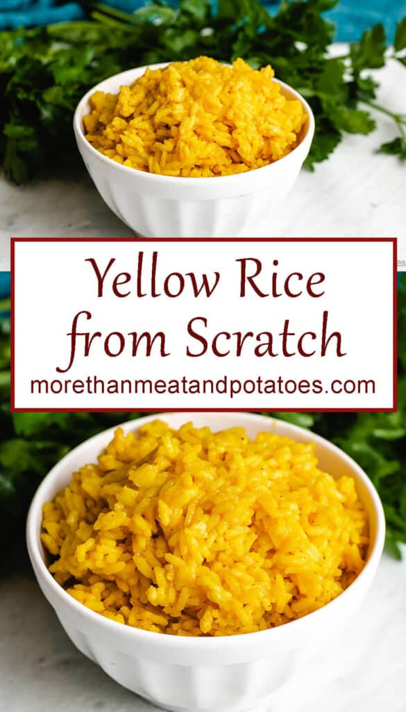 Two labeled and stack photos showing the yellow rice.