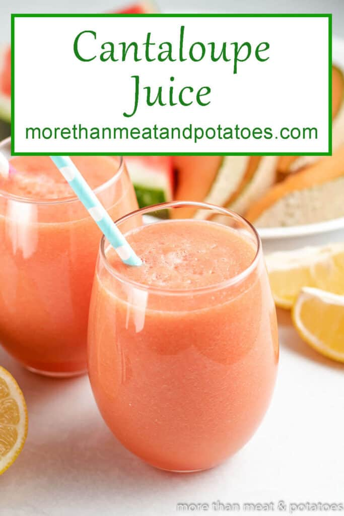 Cantaloupe juice in a glasses with a colorful straw.