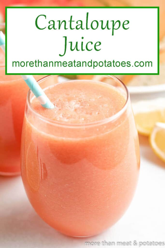 Watermelon cantaloupe juice in glass with a straw.