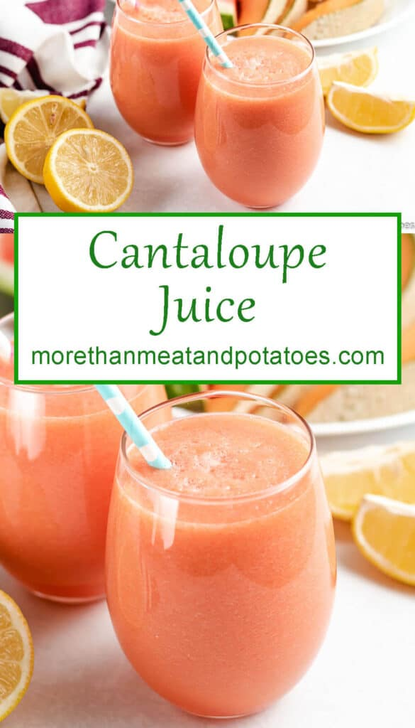 The cantaloupe juice shown in two photos served in glasses.