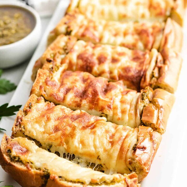 Cheesy Pesto Garlic Bread Featured Image Roasted Red Pepper Salsa