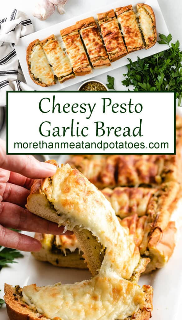 Two stacked photos showing the finished cheesy pesto garlic bread.
