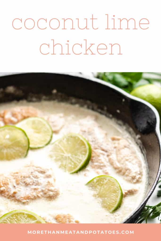 Coconut lime chicken simmering in a skillet.