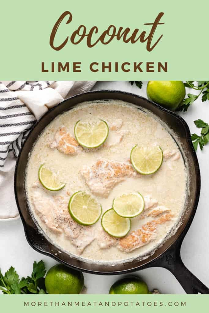 Top-down view of the finished coconut lime chicken.