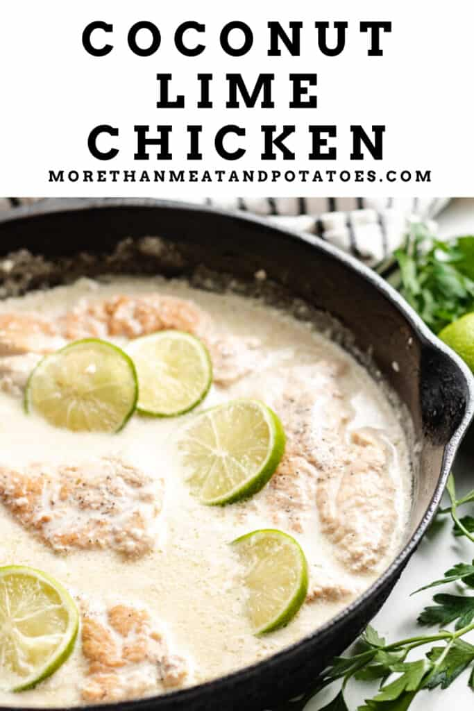 The finished coconut lime chicken in a pan.