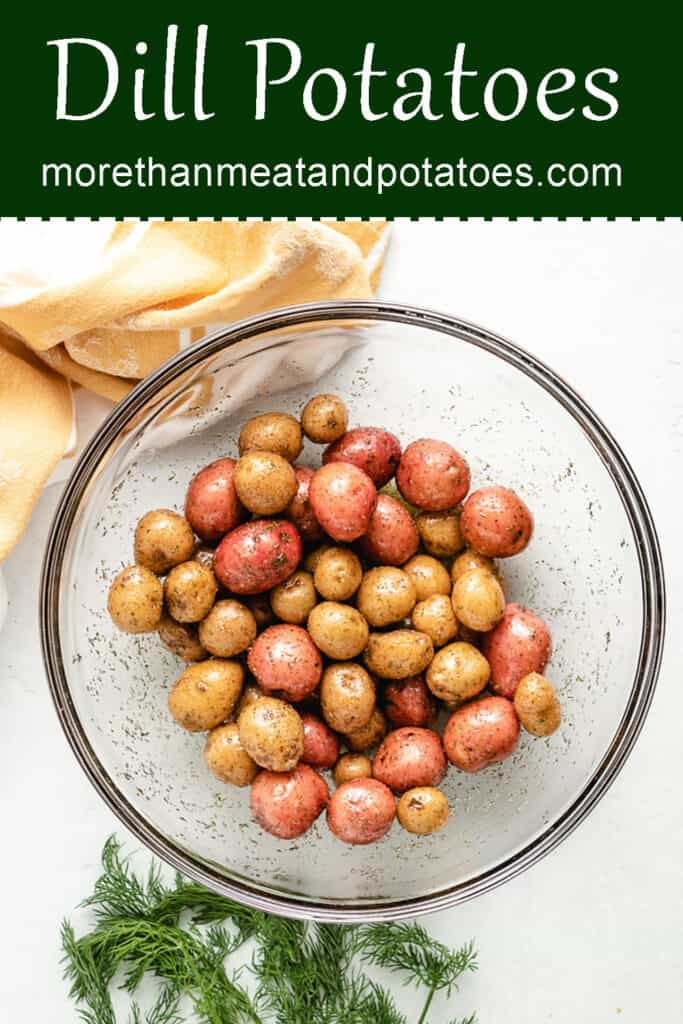 An aerial view of the seasoned potatoes in a bowl.