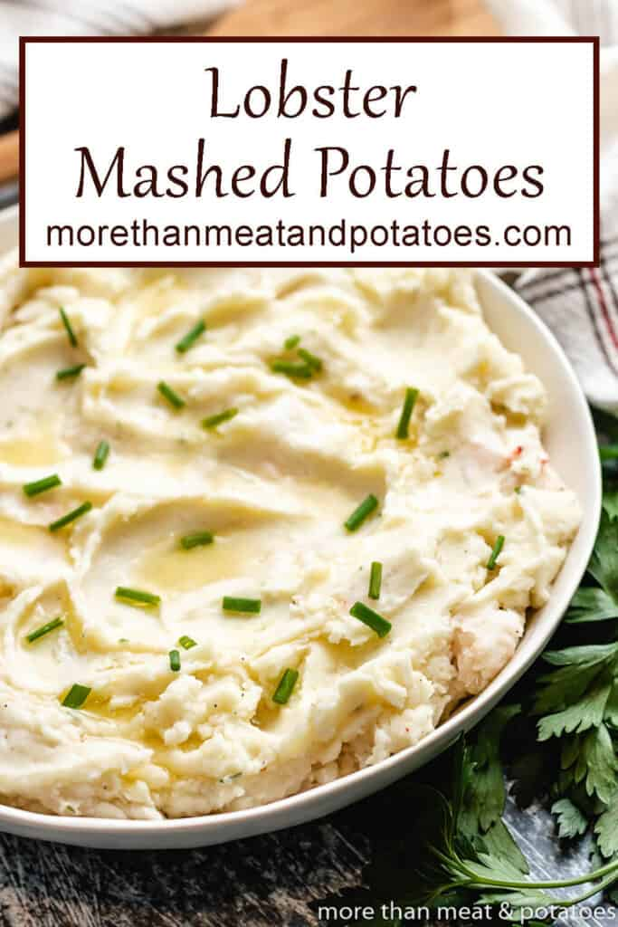 A bowl of lobster mashed potatoes topped with butter and chives.