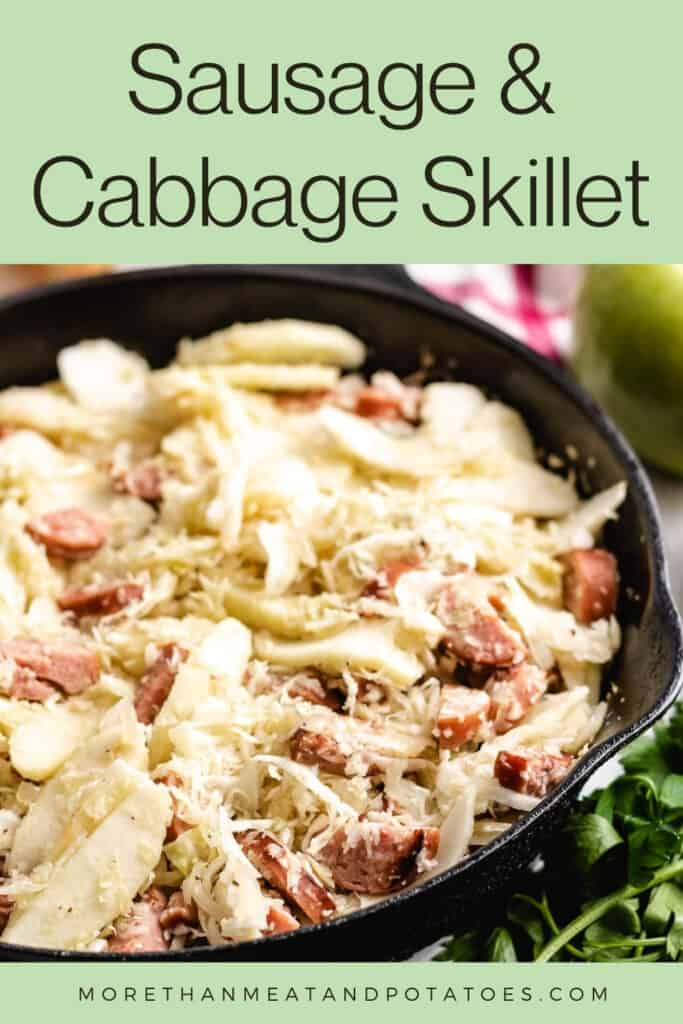 Up-close view of the finished sausage and cabbage skillet.
