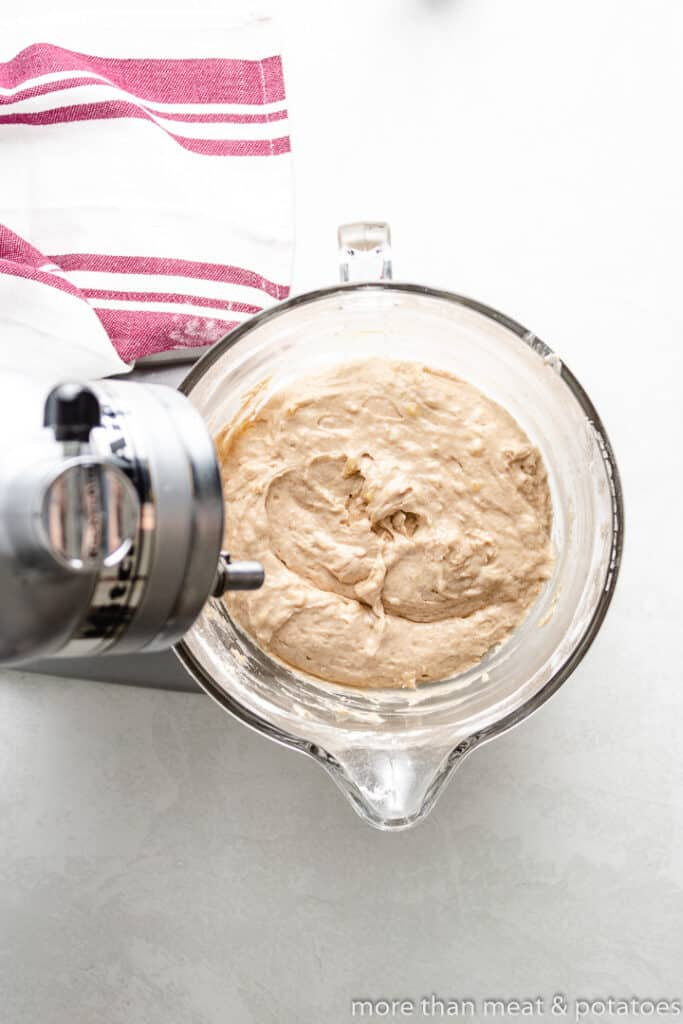 The bread batter is mixed and ready to bake.