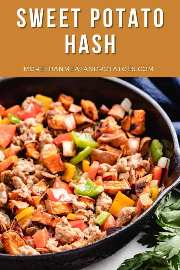 The sweet potato hash cooking in a skillet.