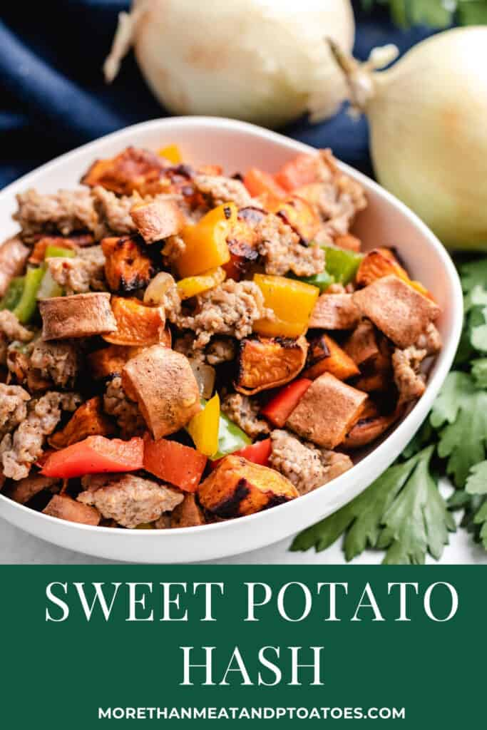Sweet potato and sausage has served in a white bowl.
