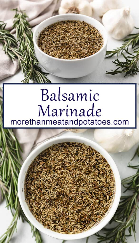 Two stacked photos showing the balsamic marinade.