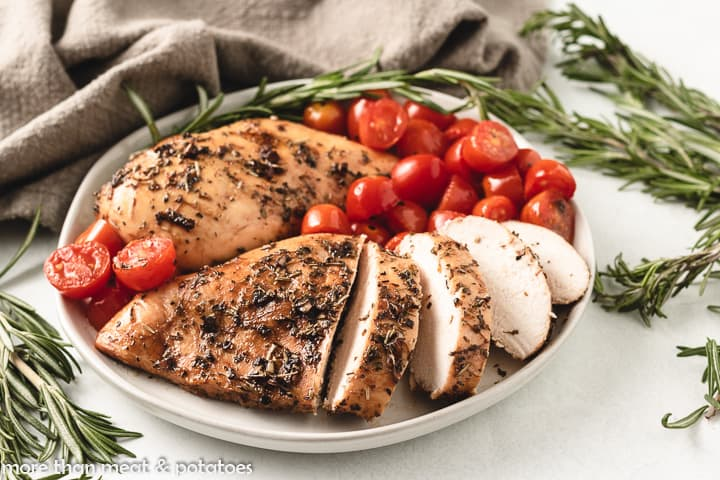 The balsamic roasted chicken in a bowl.