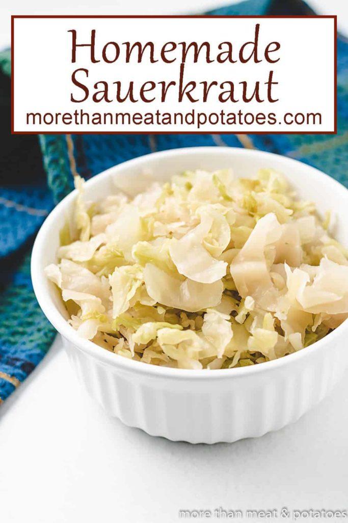 Fresh homemade sauerkraut in a ramekin.