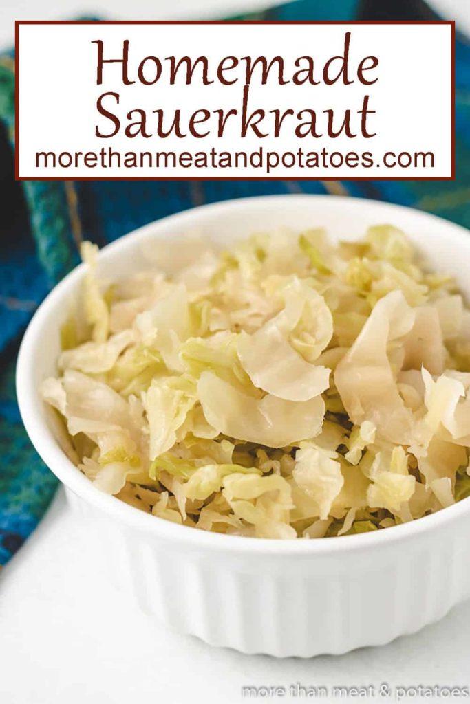 The sauerkraut served in a small white ramekin.