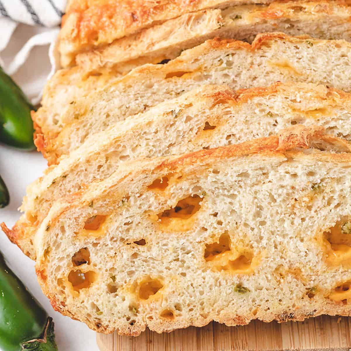 Multiple slices of the jalapeno cheese bread.