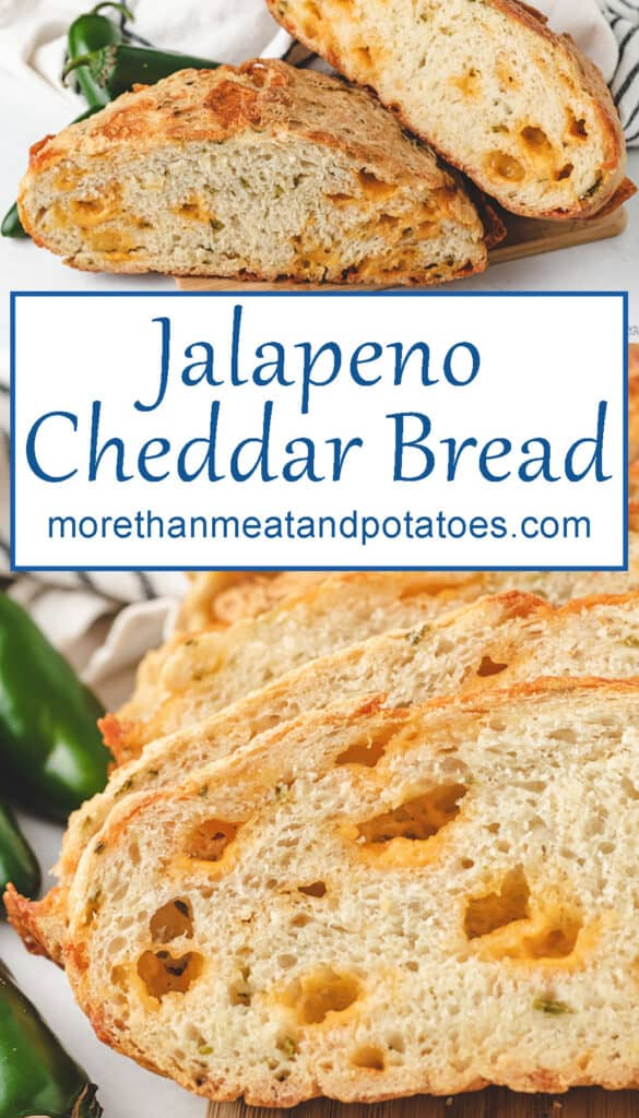 Two stacked pictures of the jalapeno cheddar bread.