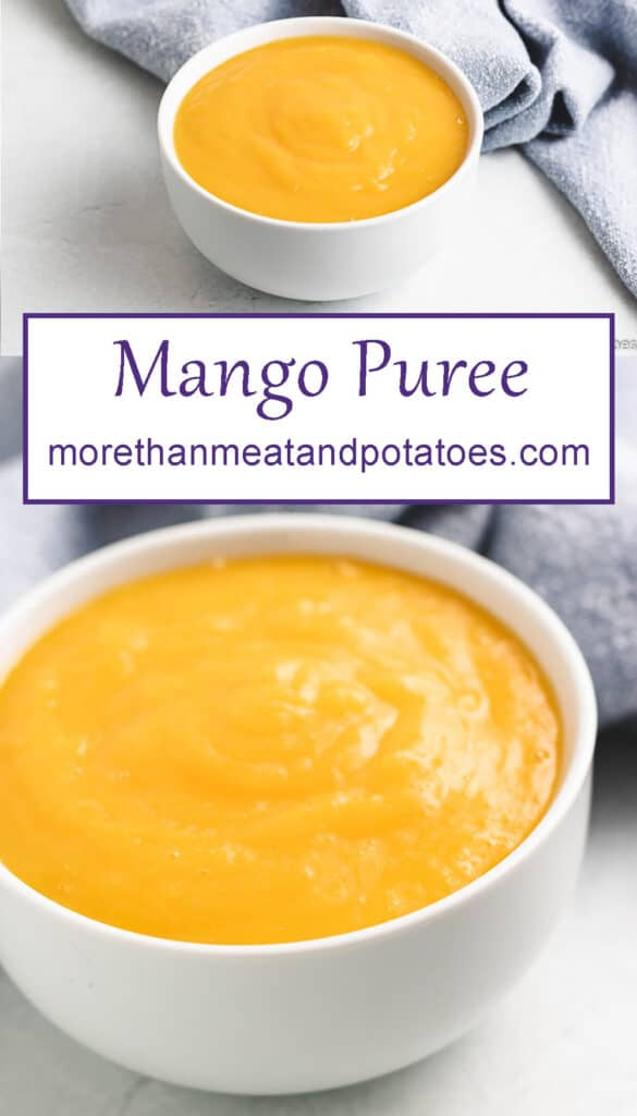 Two photos showing the mango puree in bowls.