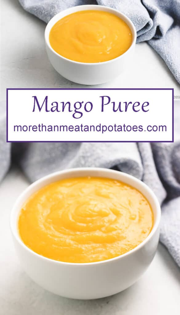 Two stacked photos showing the mango puree.
