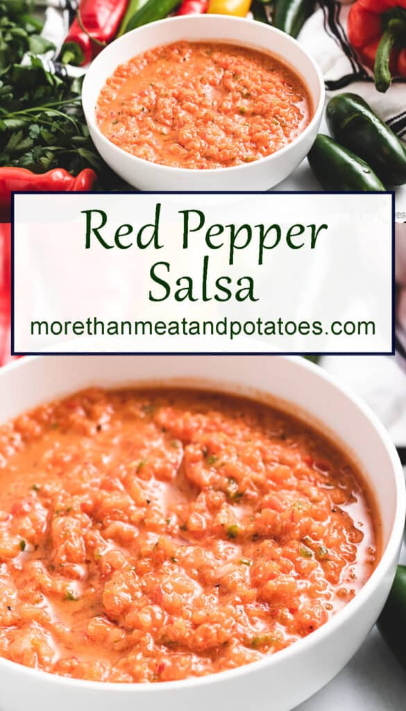 Two photos displaying the red pepper salsa.