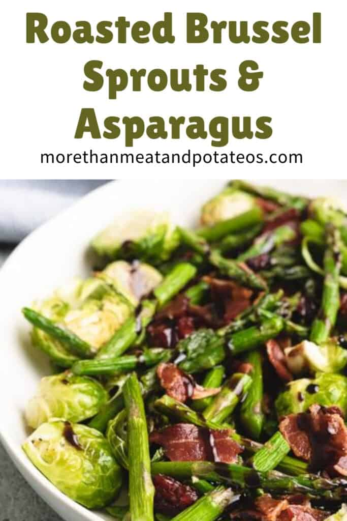 Roasted asparagus and brussel sprouts topped with bacon.