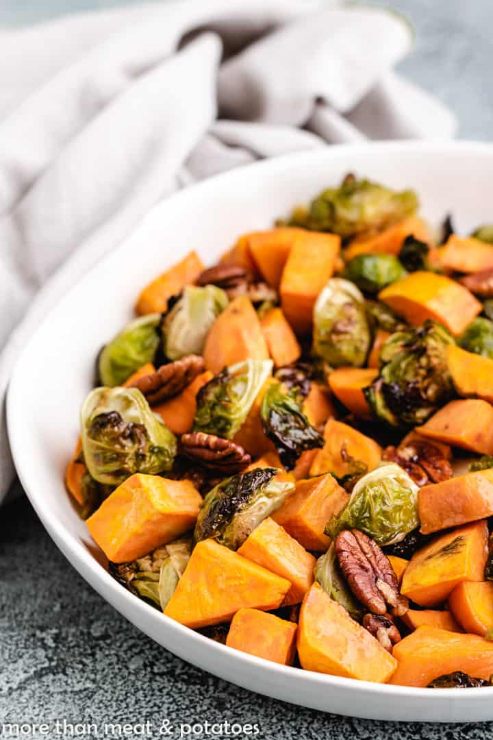 Roasted Brussel Sprouts with Sweet Potatoes 8 Brussel Sprouts and Sweet Potatoes
