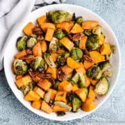 An aerial view of the roasted brussel sprouts and sweet potatoes.