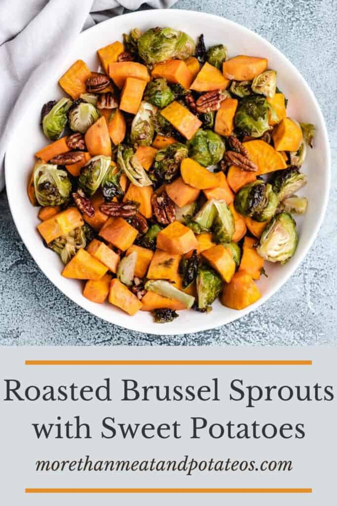 An aerial view of roasted brussel sprouts and sweet potatoes.