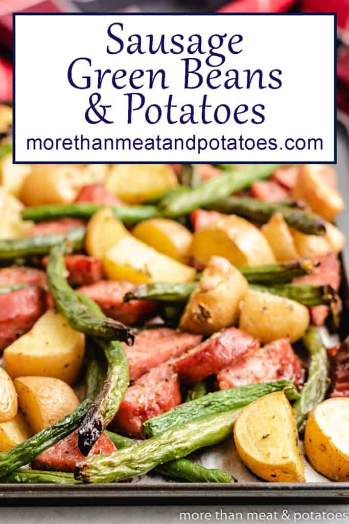 The sausage green beans and potatoes on a sheet pan.