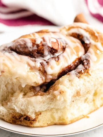 A close-up photo of a sourdough cinnamon roll.