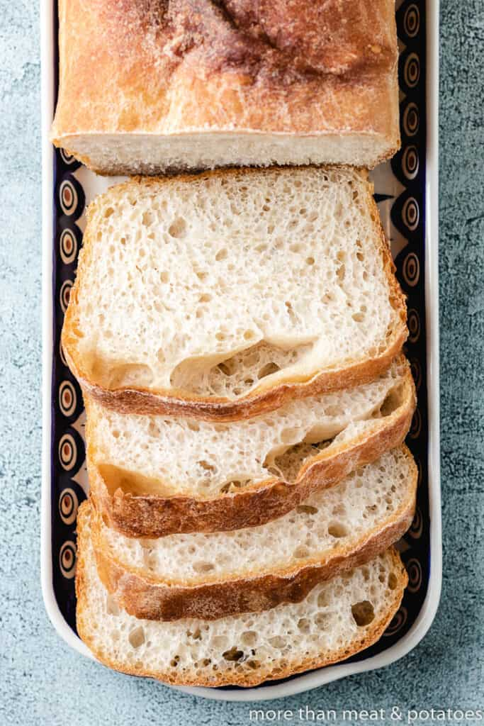 A top-down view of the baked and sliced bread.