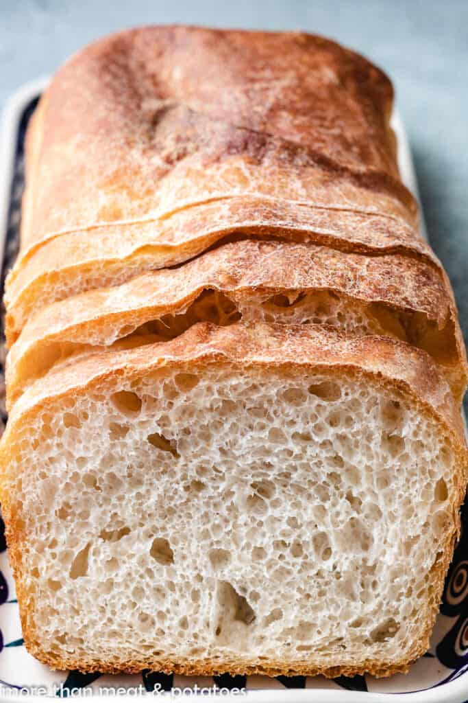 An up-close view of the sliced, baked bread.