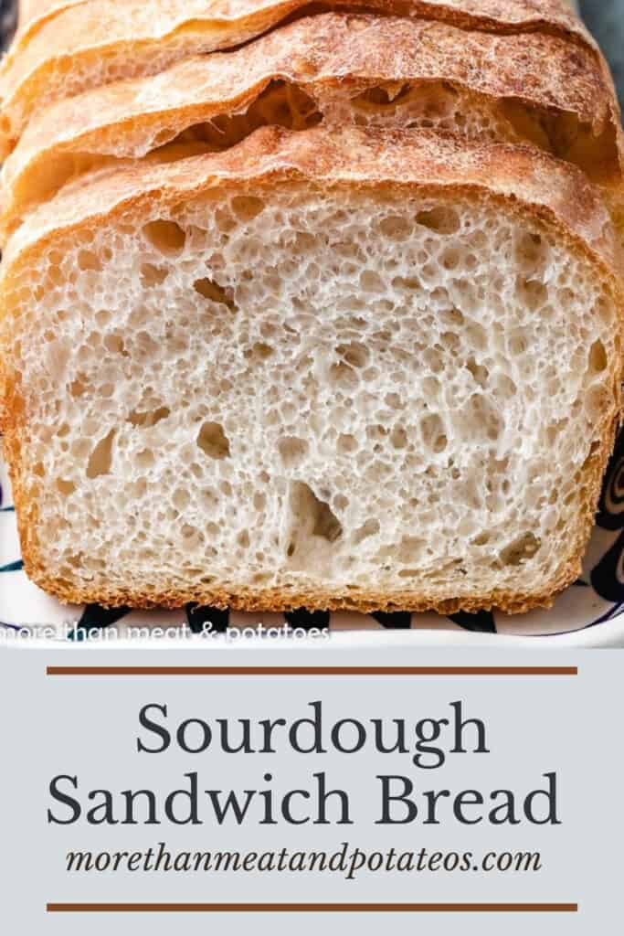A close-up of the fresh baked sourdough sandwich bread.