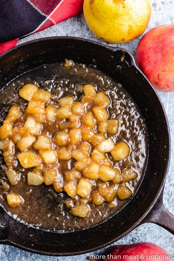 Diced pears and other ingredients in the hot pan.