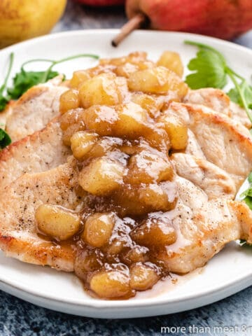 The cast iron pork chops served with a pear chutney.