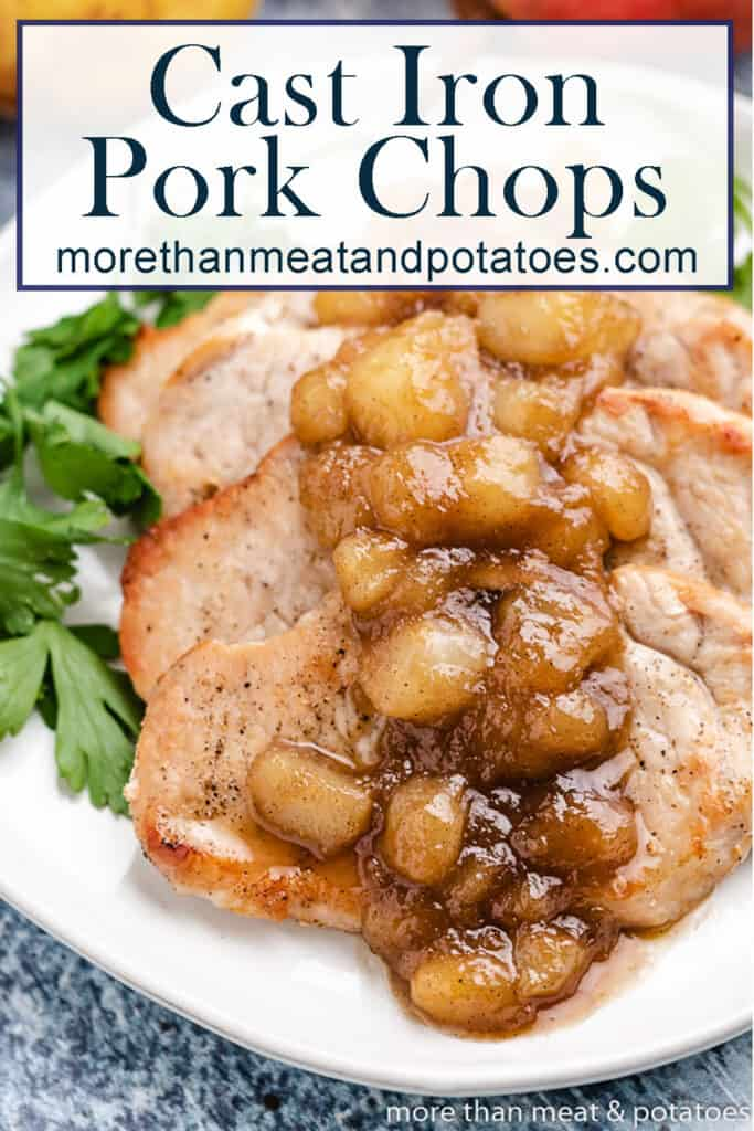 An up=close view of cooked pork chops with a pear chutney.