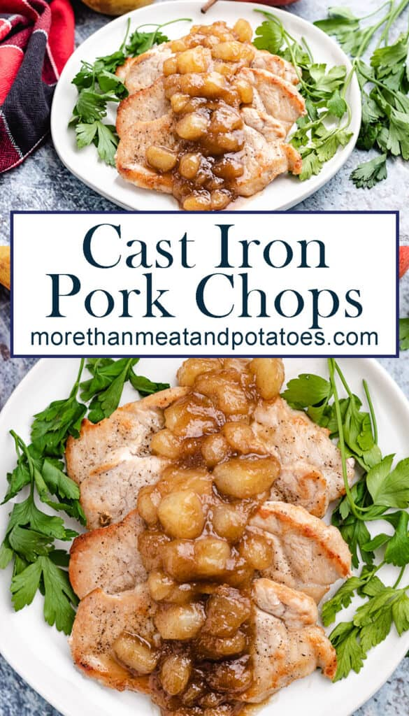 Two photos showing the cast iron pork chops with a pear topping.