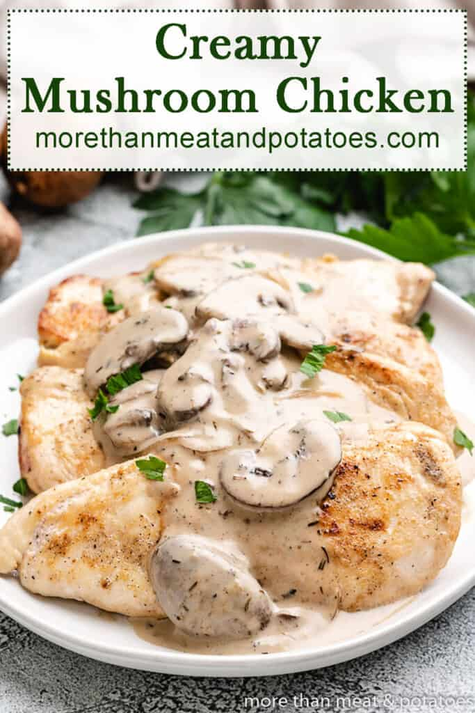 Top-down view of chicken topped with mushroom gravy.
